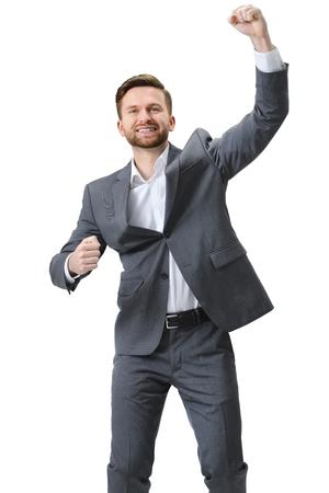 jovenes felices: éxito la celebración de negocios emocionado. Aislado en el fondo blanco