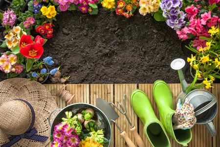 Gartengeräte und Blumen auf der Terrasse im Garten