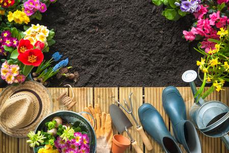 Herramientas de jardinería y flores en la terraza en el jardín Foto de archivo - 52913985