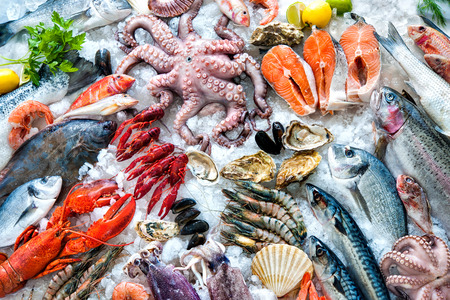 fish in ice: Seafood on ice at the fish market