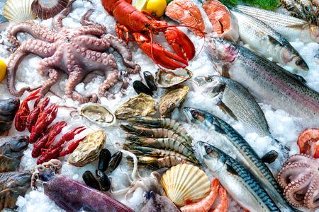 Zeevruchten op het ijs op de vismarkt Stockfoto