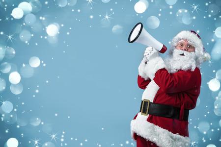 Santa Claus shouting using megaphone