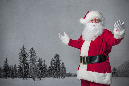 Santa Claus welcomes with spread arms photo