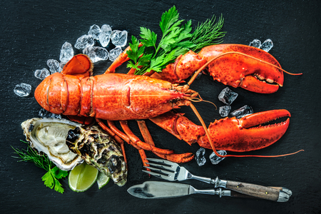 Shellfish plate of crustacean seafood with fresh lobster, mussels, oysters as an ocean gourmet dinner background 스톡 콘텐츠