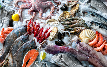 Zeevruchten op ijs op de vismarkt