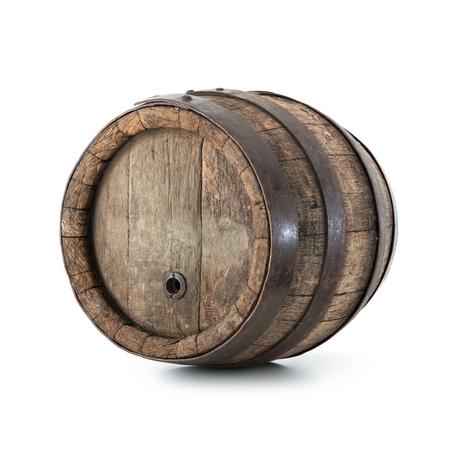Old oak barrel isolated on white background