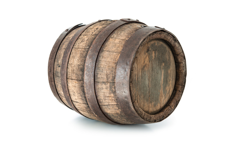 barrels: Old oak barrel isolated on white background