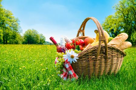 Picknick-Einstellung auf der Wiese mit Kopie Raum Standard-Bild - 57058420
