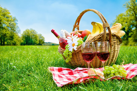 picnic cloth: picnic setting on meadow with copy space