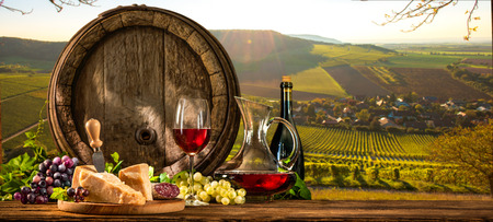 Fass mit Glas Rotwein und Käse auf Weinberg