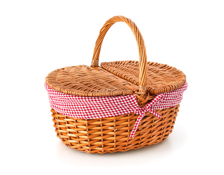 Picnic basket, isolated on white background