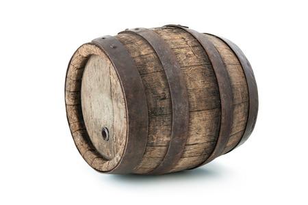 whisky: Vieux chêne baril isolé sur fond blanc Banque d'images
