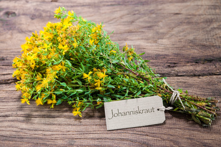 wort: Hypericum perforatum or St johns wort with a tag on wooden background Stock Photo