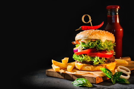 Delicious hamburger with french fries and ketchup on dark background Фото со стока