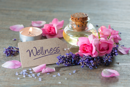 Spa still life with candles and flowers Stock Photo