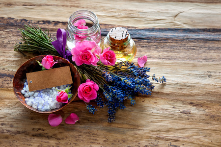 herb: Spa still life with flowers and an empty tag