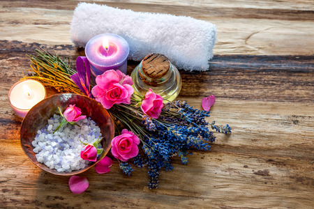 fire flower: Spa still life with candles and flowers Stock Photo