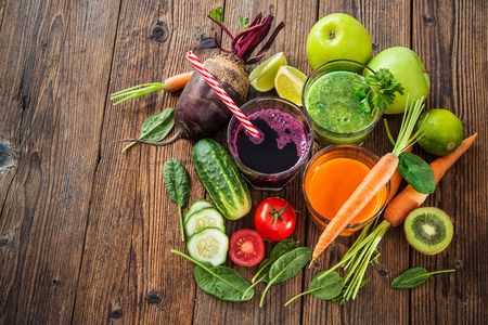 Various freshly squeezed fruit and vegetable juices Stock Photo