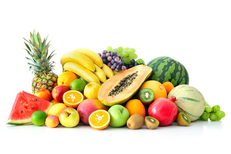 fresh green: Assortment of exotic fruits isolated on white Stock Photo
