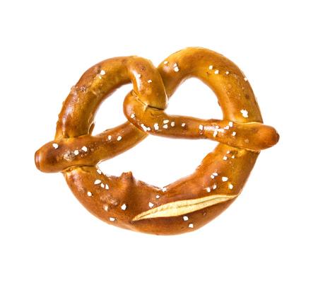 Appetizing Bavarian pretzel isolated on white background Stock Photo