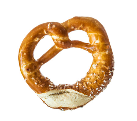 Appetizing Bavarian pretzel isolated on white background Stock Photo