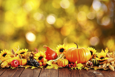 Autumn decoration arranged with dry leaves, pumpkins and more on wooden board