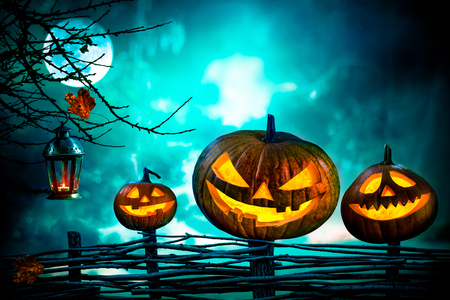 spooky forest: Halloween pumpkins in front of nightly spooky forest background Stock Photo