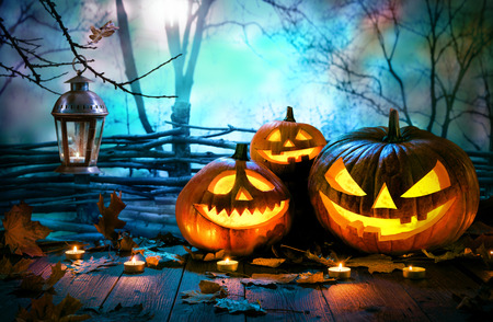Halloween pumpkins on wood in front of nightly spooky forest background