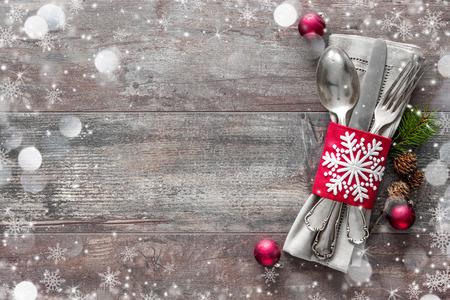 grunge backgrounds: Christmas table place setting. Holidays background Stock Photo