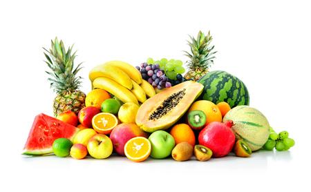 Assortiment van exotische vruchten geà ¯ soleerd op wit Stockfoto