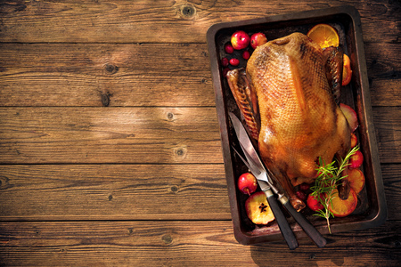 Roast duck with apples and oranges on baking tray. Cooking at Christmas time