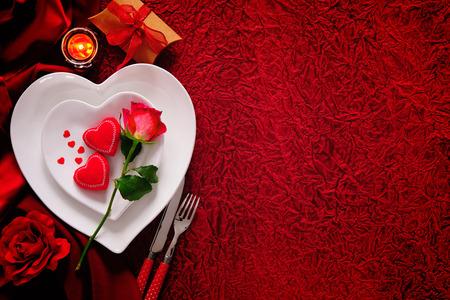 로맨틱 테이블 설정 발렌타인 데이