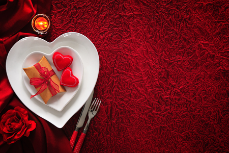romantic places: Romantic table setting for Valentines day