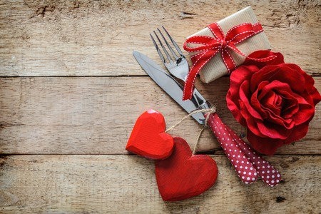 Romantic table setting for Valentines day Stok Fotoğraf - 70105939