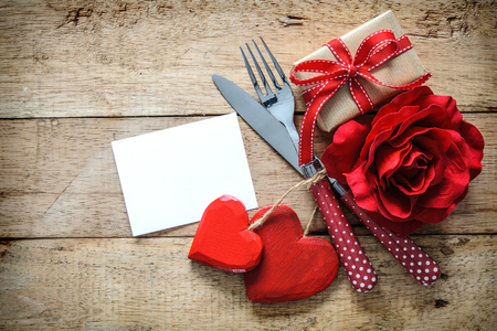 Romantic table setting for Valentines day with message