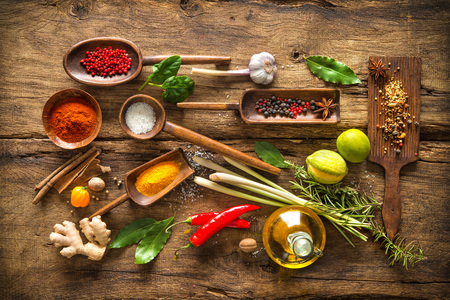 spice: Various herbs and spices on wooden table