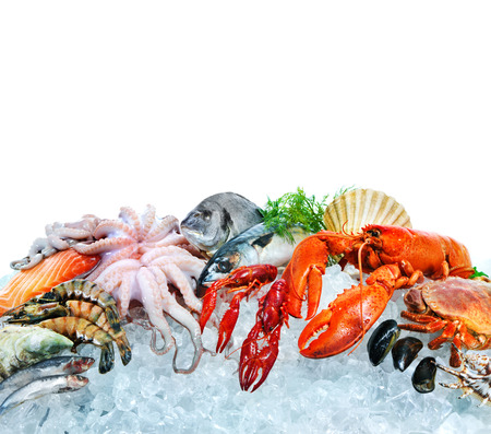 Fresh fish and seafood arrangement on crushed ice Stock Photo - 73220487