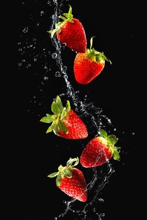 검은 색 바탕에 절연 물 얼룩에 딸기 스톡 콘텐츠