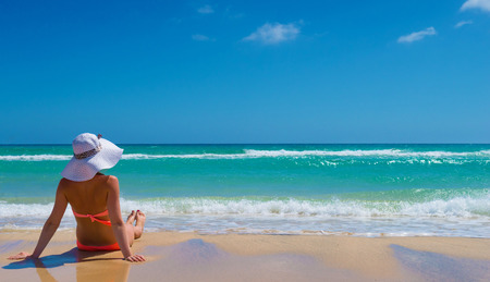 1 person: Young woman relax on the beach
