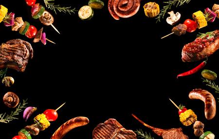 Collage van verschillende gegrild vlees en groenten