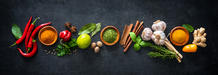Various herbs and spices on dark background 免版税图像 - 80125180