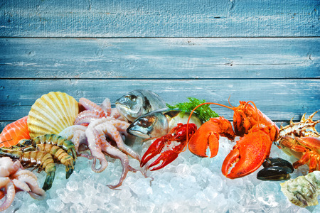 Fresh fish and seafood arrangement on crushed ice