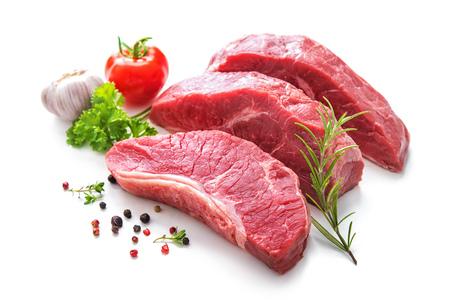 흰색으로 격리 굽고위한 재료로 원시 쇠고기 고기 조각 스톡 콘텐츠