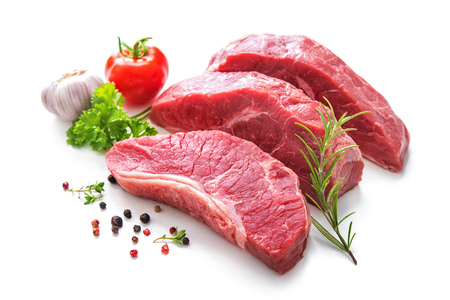 Pieces of raw roast beef meat with ingredients for grilling isolated on white Stock fotó
