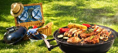 Barbecue picnic on a meadow Archivio Fotografico