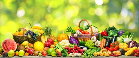신선한 야채와 과일 배경