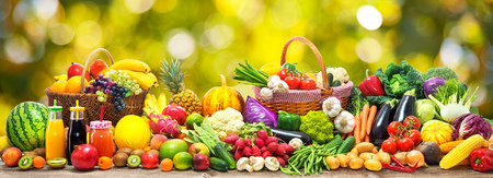 Fresh vegetables and fruits background