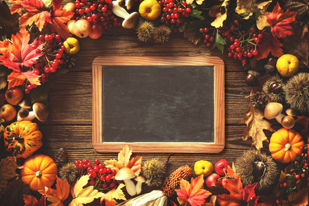 Vintage Autumn Border From Fallen Leaves And Fruits On The Old Wooden Table Thanksgiving
