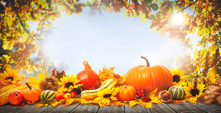 Thanksgiving background with pumpkins, wooden plank and falling leaves Foto de archivo