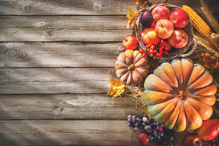 Thanksgiving background with pumpkins, corn cobs, wheat and falling leaves on rustic wooden table Stock Photo